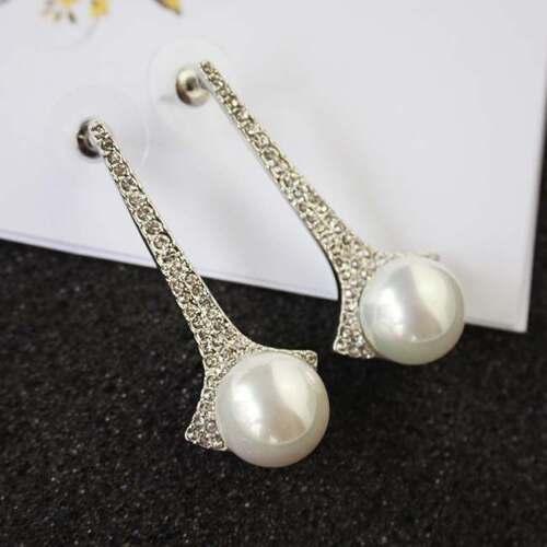 Boucles d`Oreilles Argenté Clous Art Deco Cristal Perle Mariage Etoile P1