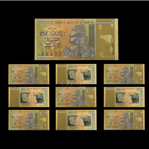 WR 10pcs Zimbabwe 100 Trillion Dollars Banknotes Color Gold Bill //w Certificate