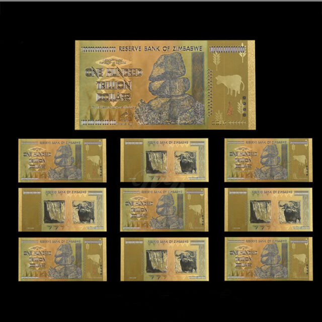 Wr 10pcs Zimbabwe 100 Trillion Dollars Banknotes Color Gold Bill W Certificate