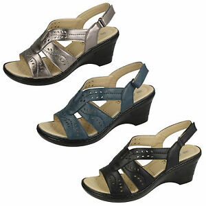 Ladies-Black-Pewter-Blue-Eaze-Wedge-Sandals-UK-Sizes-4-8-F3107