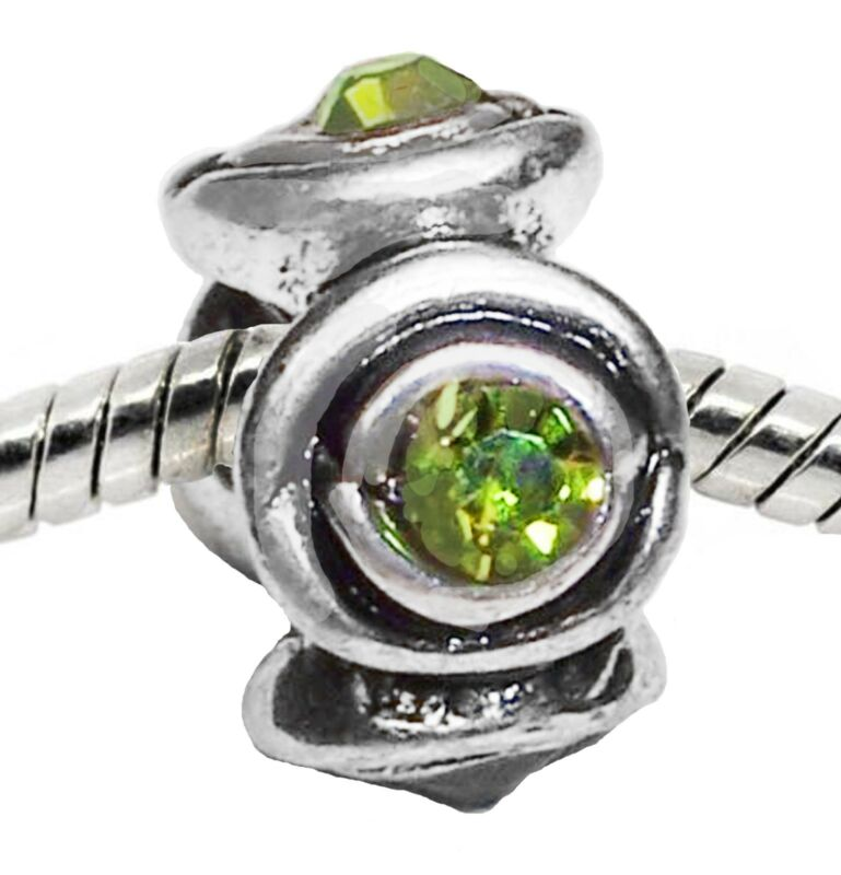 August Birthstone Green Rhinestone Ring Spacer Charm For European Bead Bracelets