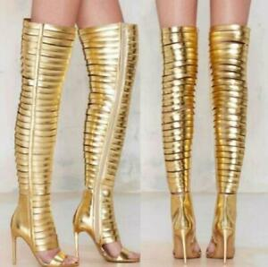 Womens Over Knee High Gladiator Boots