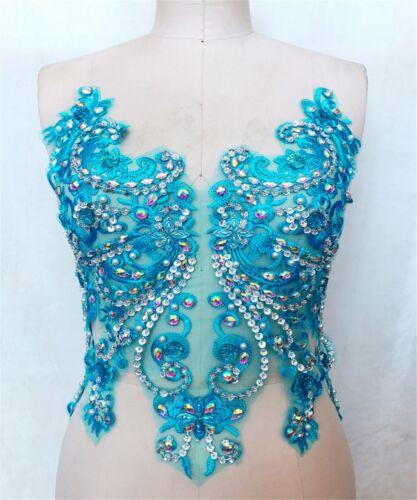 Perlen Tanzend Kleid Kostüm Spitze Applikation Blumen Glitzer Abend Motiv 1 PC