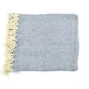 100-Algodon-Sofa-Azul-Y-Blanco-Zigzag-patron-Manta-130-cm-X-150-Cm
