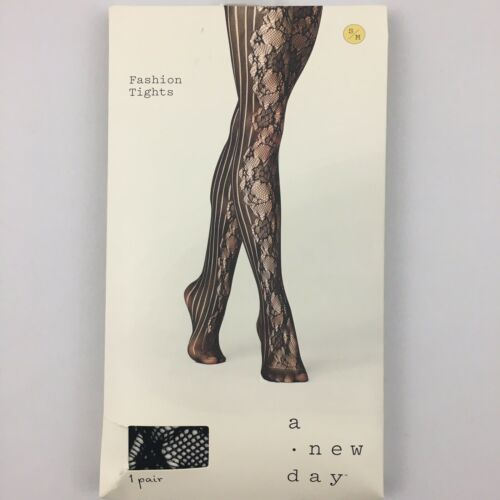 A New Day Black Fashion Tights Striped Floral Womens Various Sizes
