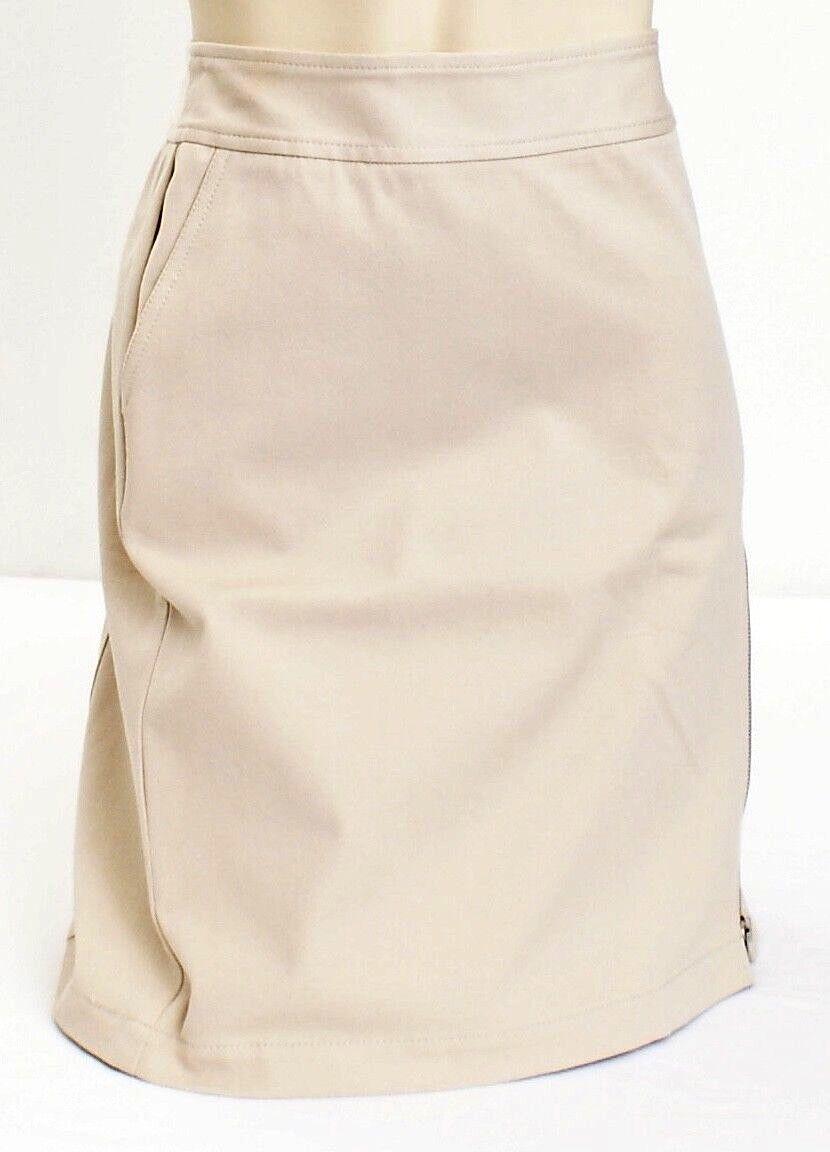 DKNY Beige Uptown Metro Zip Slit Stretch Skirt Women's 10 NWT