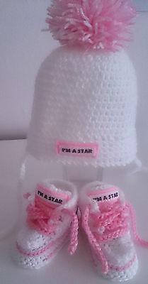 Hechos A Mano Bebe Zapatos Zapatillas y sombrero, Gorras, Tenis, Botines, Botas, Crochet