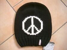 (M38) Grobstrick Mütze FREAKY HEADS Beanie Wintermütze Peace mit Logo Aufnäher