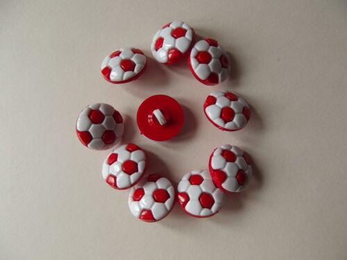 blanc Nouveauté boutons en forme de football taille 24L 10 x rouge 15mm