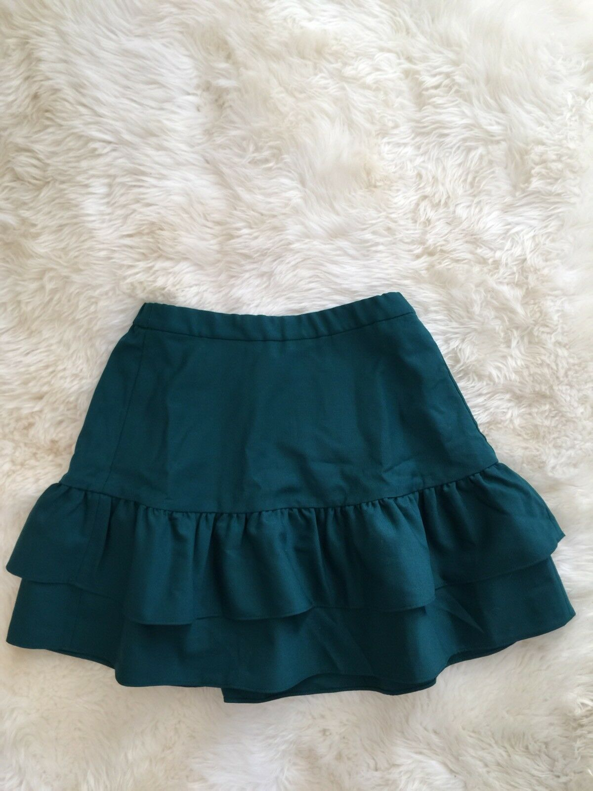 f065c8d9d8 New Jcrew Petite wool flannel ruffle Office skirt Deep Deep Deep Jade G8870  Size 2P 98f639