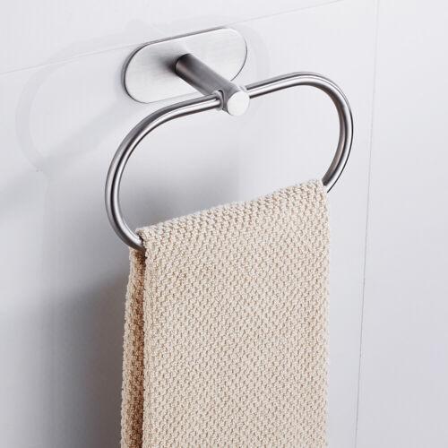 Stainless Steel Towel Ring Holder Hanger Chrome Self Adhesive Bathroom Home