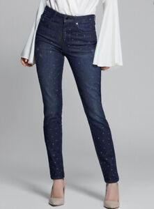 Guess By Marciano Women's Diamante Skinny Jeans In Blue Denim Size 25