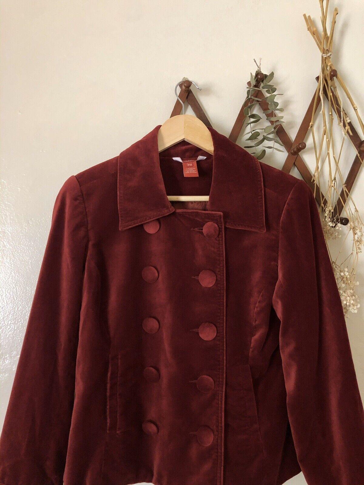 ❀Sundance Vintage Red Velvet Button Blazer 10P - image 2