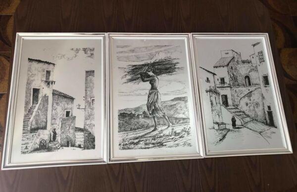 3 Quadri Incisi Su Lamina Di Metallo - Paesaggi Del Sud Italia - Firmati In Viaggio