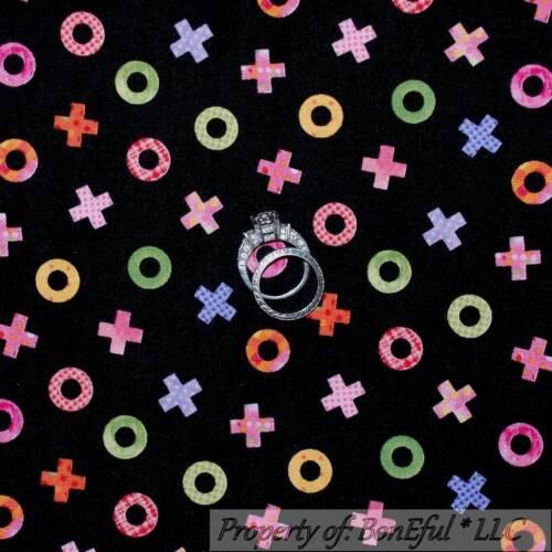 BonEful Fabric FQ Cotton Quilt Black Rainbow XOXO Love Pattern Print Calico Baby