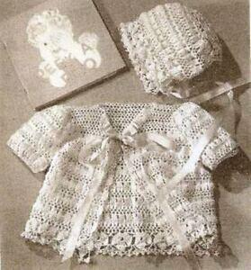 Vintage Crochet Baby Jacket And Bonnet Pattern Fine Thread Not