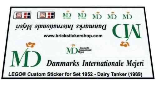 Dairy Tanker Lego® Custom Pre-Cut Transparant Sticker for Classic Town 1952