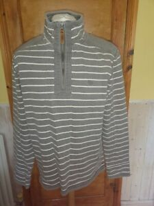 Fat-face-grey-with-white-stripes-cotton-sweatshirt-1-4-zip-good-condition-Size-M