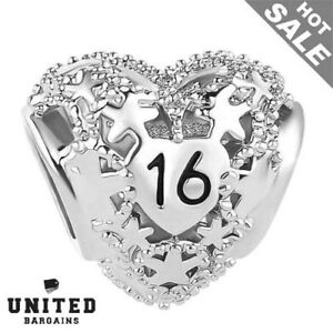 d14780a36 Image is loading Silver-Sweet-16-Heart-Birthday-Charm-16Th-Birthday-