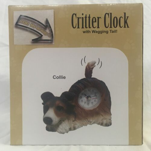FATHER/'S DAY SALE Critter Clock Collie Tabletop Wagging Tail Puppy Dog
