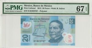 Mexico-20-Pesos-2013-Polymer-PMG-Certified-Banknote-UNC-67-EPQ-Superb-Gem