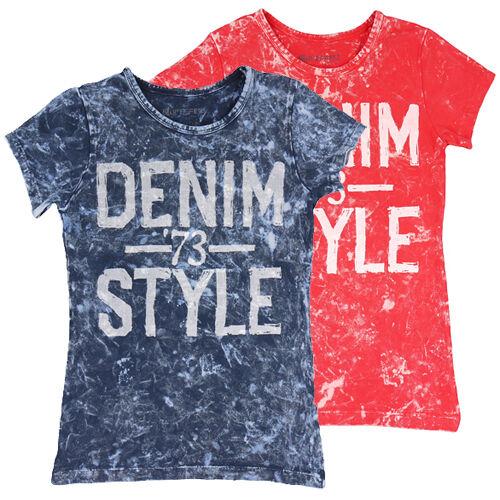 Blue Effect Mädchen T-Shirt cooler Batik Look blau oder koralle Denim Style NEU