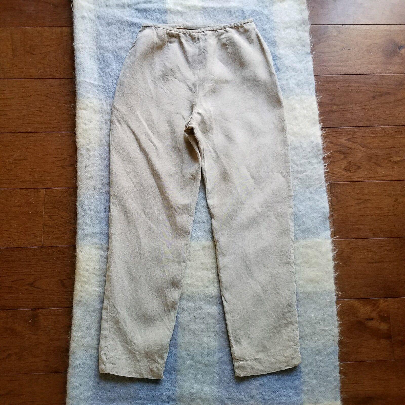 Sigrid Olsen Lined 100% Linen Pants Size 4 Oatmeal Beige Tapered Leg High Waist