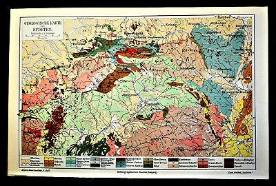 Cartina Fisica Umbria Da Stampare.1903 Antica Stampa Geografica Carta Geologica Del Sudeten Meyers 1 1500 000 Ebay