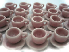 20 Pink Coffee Cup /& 20 Saucer Dollhouse Miniatures Ceramic Supply Deco