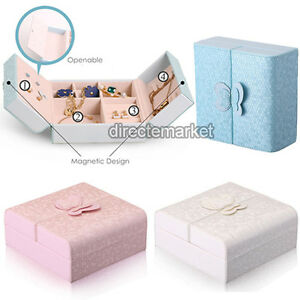 Details About Portable Butterfly Pu Leather Travel Jewelry Holder Storage Case Organizer Box