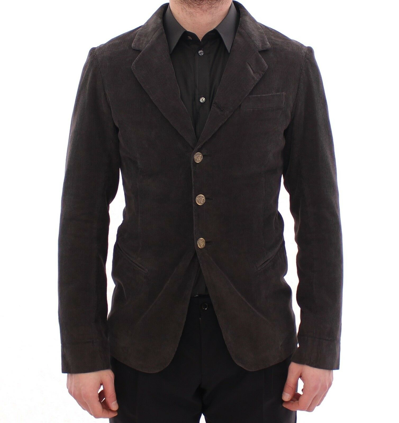 Nuova con Etichetta Dolce & Gabbana Marrone Tre Bottoni Slim Giacca Cappotto