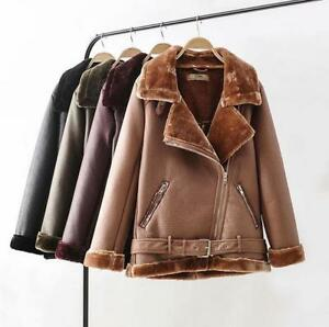Women-Chic-Fleece-Lined-Thicken-Lapel-Punk-Casual-Outdoor-Leather-Parka-Coats-Sz