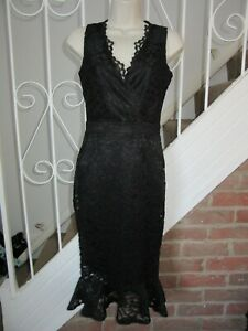 BNWT-UK-4-Lipsy-Midi-Dress-Black-V-Neck-Lace-Flute-Hem-Sleeveless-US-0-Party