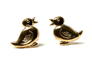 9ct-Gold-Duck-Studs-earrings-Made-in-UK-Gift-Boxed-Christmas-Gift-Kids