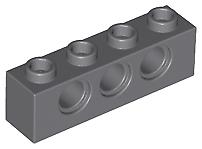 LEGO Parts NEW - Pack of 3 Brick 1x4 with Hole 3701 DARK BLUISH GREY