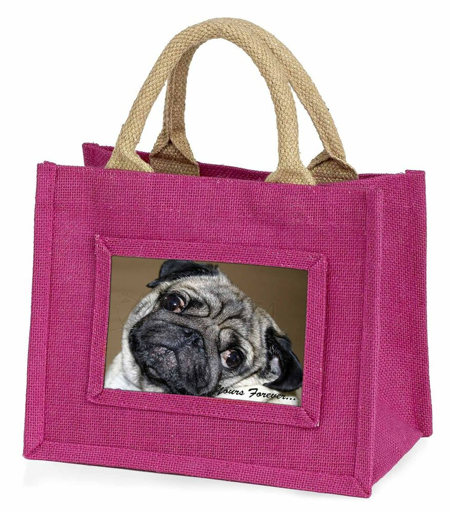 Humoristique Pug Dog 'yours Forever' Little Girls Small Pink Shopping Bag Christm, Ad-p64ybmp Prix Fou