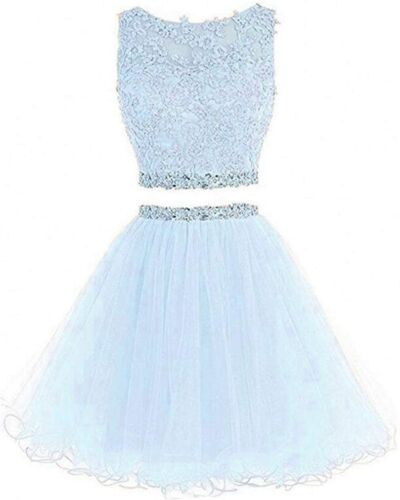 2021 Short Homecoming Dress Tulle Beaded For Juniors Teens 2 Piece Party Gown