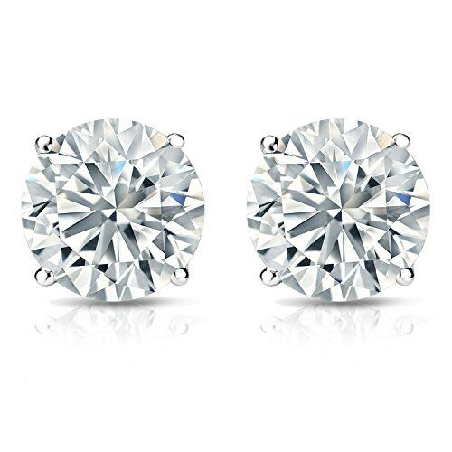 2.00ct ROUND CUT Certified diamond stud earrings 14k WHITE gold F-G VS2-SI1