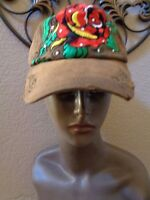Cheveux (2) Distressed Head Wear Embroidered Rose Rhinestones Cotton Caps.