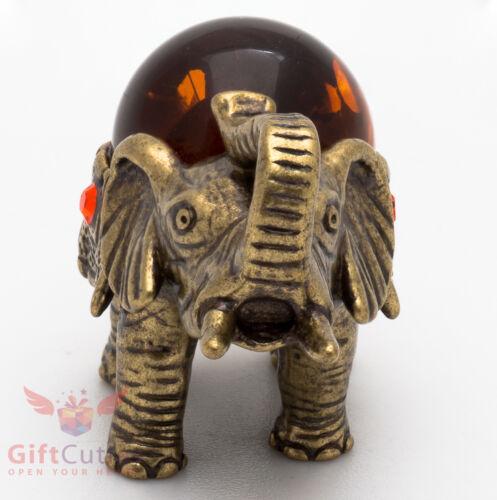 Solid Brass Amber Figurine of Royal Indian Elephant talisman IronWork