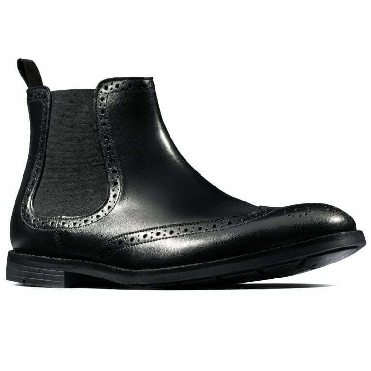 CLARKS Ronnie Top Men's Smart Chelsea Black Leather Boots UK Size 10 1/2 G