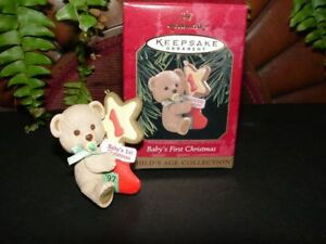 1997-BABY-039-S-FIRST-CHRISTMAS-Hallmark-ornament-bear-brand-new