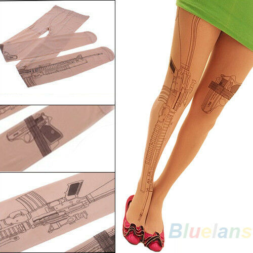 Women Sexy Tattoo Printed Socks Transparent Tights Stockings Pantyhose