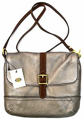 $148 NWT Fossil SHB1045 Taylor Top Zip Genuine Leather Flap Cross Body Shoulder