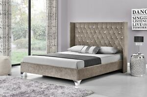 promo code feacc 57cfe Details about Double Winged Upholstered Fabric Bed Frame Velvet Chenille  Double or King Size
