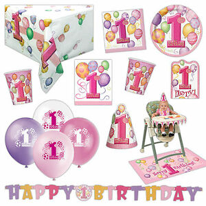 Unique-Girl-039-s-Pink-1st-Birthday-Party-Supplies-Tableware-Balloons-Cups-Listing