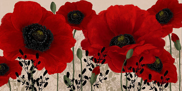 Linda Wood   Rouge Coquelicot Coquelicot Tableau Prêt 50x100 Giroflées