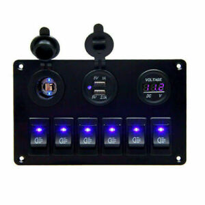 6-Gang-Blau-LED-Schalter-Schaltpanel-Schalttafel-Voltmeter-12V-24V-Bus-Boot-RV