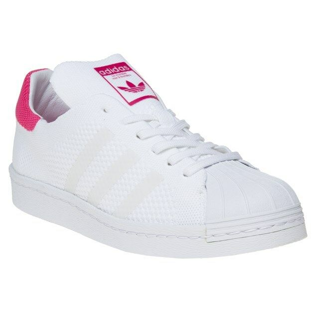 New Damenschuhe adidas Weiß Superstar 80's Pk Textile Trainers Retro Lace Up