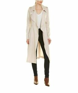 Badgley Mischka Women's Angelina Tencel Long Sleeves Trench Coat | Fog - Large